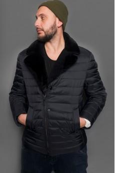 Зимняя мужская куртка косуха с воротом из меха