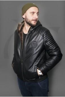 Мужская кожаная куртка на меху с капюшоном