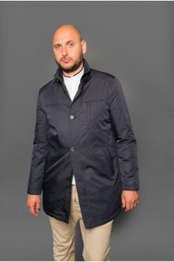 Удлиненная мужская куртка темно - синего цвета