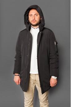 Модная мужская куртка - парка чёрного цвета