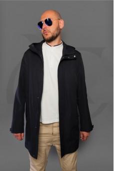 Куртка с капюшоном темно-синего цвета