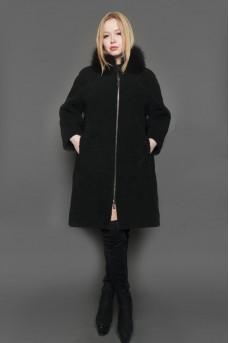 Пальто из меха кёрли в чёрном цвете