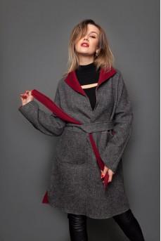 Оригинальное шерстяное пальто - халат