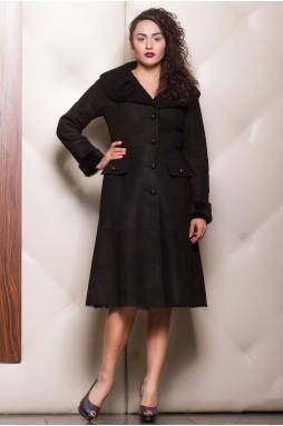 """Дубленка женская длинная черного цвета в комбинации с мехом """"керли""""."""