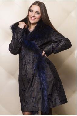 Стильное пальто женское из кожи пони золотисто-синего цвета.