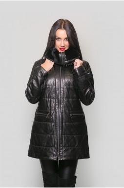 Куртка женская кожаная, черного цвета