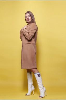 Шерстяное пальто цвета кэмел