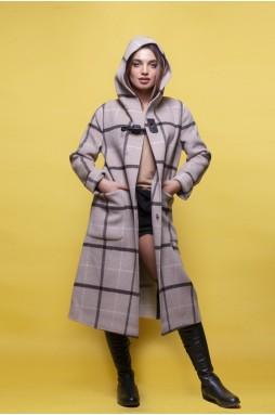 Шерстяное пальто бежевого цвета