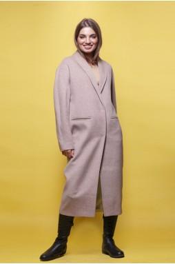 Шерстяное пальто цвета капучино