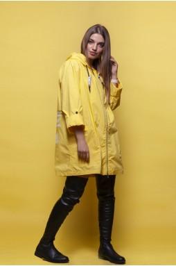 Удлиненная ветровка желтого цвета