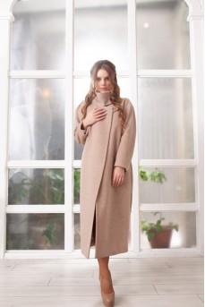 Шикарное шерстяное пальто бежевого цвета