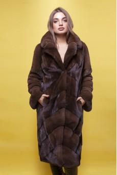Статусное норковое пальто в цвете орех