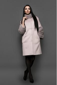 "Кашемировое пальто цвета ""пудра"""