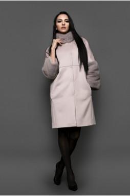 Кашемировое пальто с мехом норки