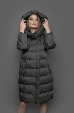 """Зимнее пальто цвета """"хакки"""" с капюшоном."""