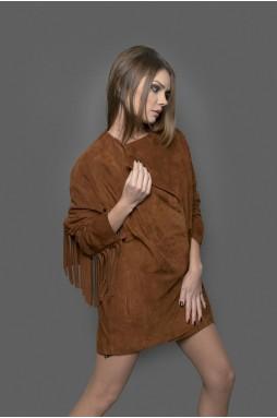 """Стильная, удлиненная женская куртка из натуральной замши цвета """"виски"""" с поясом."""