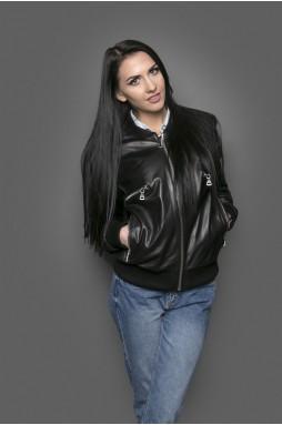 """Женская кожанная куртка """"бомбер"""" в черном цвете"""