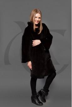Двухстороннее пальто из меха рекса в роспуске