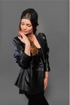 Кожаная куртка - пиджак чёрного цвета