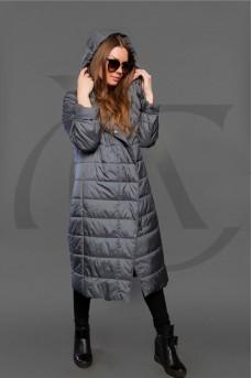 Удлиненное  тканевое пальто с капюшоном