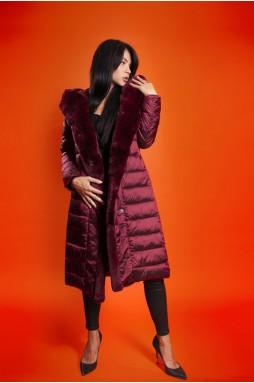 Тканевое пальто цвета марсала