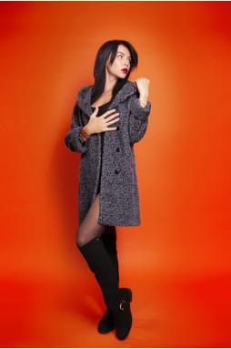 Шерстяное пальто серого цвета с капюшоном
