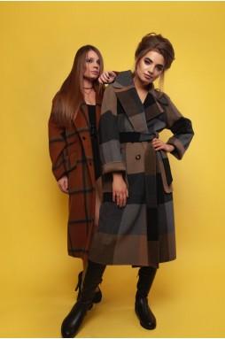 Женское пальто с принтом в клетку