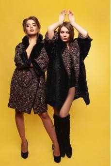 Двухстороннее пальто из меха рекса на кашемире