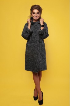 Серое шерстяное пальто с капюшоном