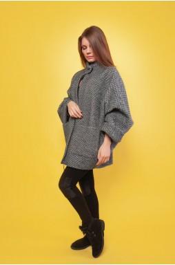 Короткое женское серое пальто