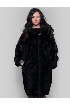 Женская норковая шуба черного цвета