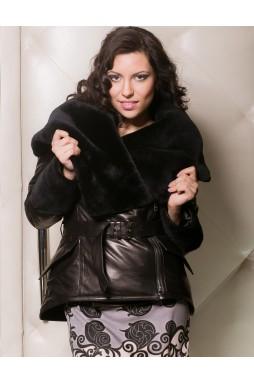 Женская зимняя куртка из натуральной кожи