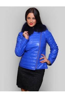 Куртка кожаная синего цвета