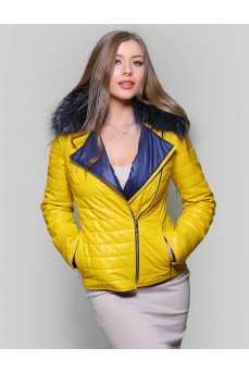 Куртка кожаная желтого цвета