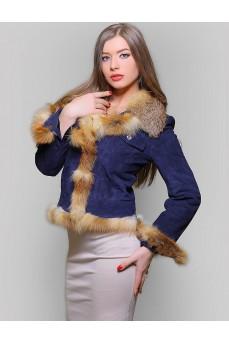 Замшевая куртка темно-синего цвета