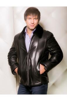 Мужская кожаная куртка с мехом из овчины