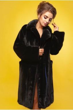 Норковое пальто с английским воротом