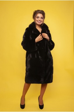 Норковое пальто в чёрном цвете