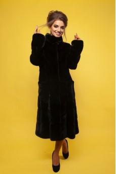 Роскошное норковое пальто чёрного цвета