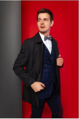 Удлиненная мужская куртка темно-синего цвета