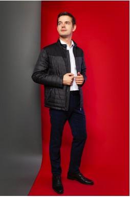 Мужская тканевая куртка чёрного цвета на змейке