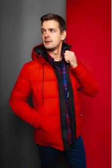 Мужской Пуховик с капюшоном красного цвета