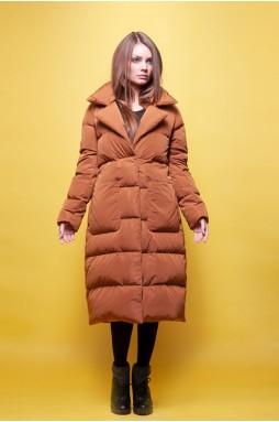 Тканевое пальто коричневого цвета