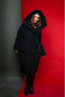 Модный пуховик - одеяло чёрного цвета с капюшоном