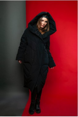Пуховик - одеяло с капюшоном чёрного цвета 