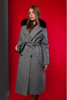 Эксклюзивное пальто-пуховик серого цвета