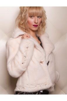 Куртка из аукционного меха норки жемчужного цвета